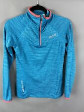 Ladies Regatta Sports Top UK 8 Teal Coral Zipped Outdoor Long Sleeved
