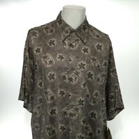 CUBAVERA Men's Large Gray Floral Hawaiian Short Sleeve Button Up Rayon Shirt NEW