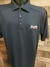 New listing Atlanta Braves Cutter Black Mens Medium Navy Blue Red White Short Sleeve Golf...