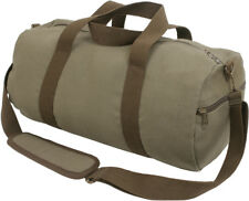 Olive Drab Canvas Gym Duffle Carry Shoulder Bag with Brown Straps