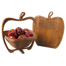 Collapsible Apple Shaped Bamboo Basket For Kitchen Fruit Centerpiece Bowl Decor