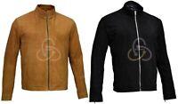 Men James Bond Brown Black Suede Daniel Craig Morocco Leather Jacket XS S M L XL