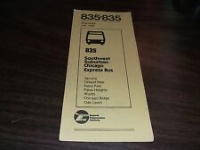 JANUARY 1981 CHICAGO RTA ROUTE 835 SOUTHWEST SUBURBAN BUS SCHEDULE
