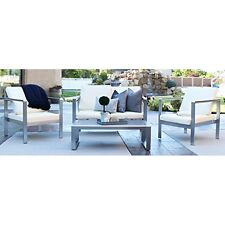 WE Furniture 4 Piece Mod Style Chat Set with Cushions, Silver/Espresso New