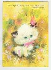 Vintage Birthday Card Cat and Butterfly Yellow 1960's Pleasant Thoughts