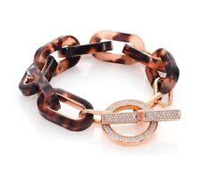 BEAUTIFUL Michael Kors Blush Tortoise Link Bracel Toggle Rose Gold Tone Jeweled