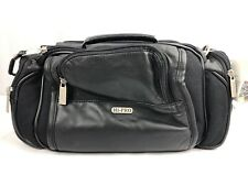 "NWT HI-PRO 12"" BLACK GENUINE LEATHER CAMERA/CAMCORDER CASE, MANY COMPARTMENTS"