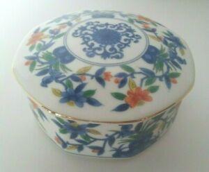 "Vtg Porcelain Octagon Shape Trinket Jewelry Box Blue Coral Flowers Gold Trim 4"""