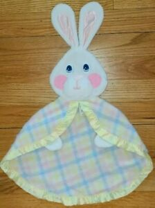 Fisher Price Security Blanket vintage 1979 Lovey baby Pastel Plaid Bunny rabbit
