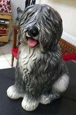 """More details for vintage large 17"""" fireside ceramic old english dulux sheepdog dog advertising"""