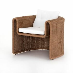 """32"""" H Maria Brown Woven Wicker Outdoor Chair One Piece Curved Fluid Open Rustic"""