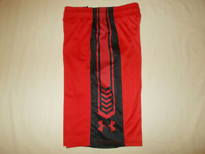 UNDER ARMOUR RED ATHLETIC SHORTS BOYS SMALL EXCELLENT CONDITION