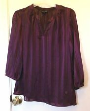 I Ronson. Mixed Purple stripe semi sheer short sleeve pullover top size S