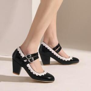 Elegant Women Block Heel Mary Janes Pumps Round Toe Ankle Strap Shoes 48 47 46 D