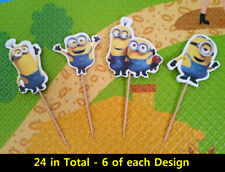 24 PCS Despicable Me Minion CUPCAKE CAKE TOPPERS KIDS PARTY SUPPLIES BIRTHDAY