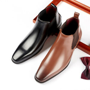 Mens Leather Square Toe Ankle Riding Boots Pull On Business Formal Dress Shoes