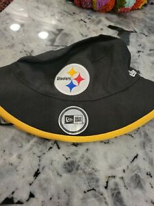 NWT New Era Black Yellow Pittsburgh Steelers Drawstring Bucket Hat Unisex