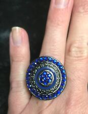 Black metal blue stone stretch ring big bold