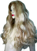 HUMAN HAIR Indian Remi Remy Glueless Full Lace Wig Blonde Mix 613 +27 Wavy Long