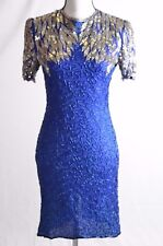 Stenay Vintage 100% Silk Beaded Sequined Dress Blue Silver Womens Size 2P (N)
