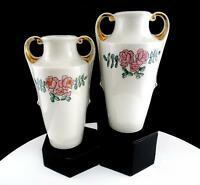 "CZECHO SLOVAKIA PORCELAIN PINK ROSE DESIGN SET OF TWO 6 1/2"" HANDLED VASES"