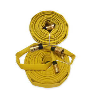Forestry Grade Lay Flat Fire Hose with Garden Thread, YELLOW, 250 PSI