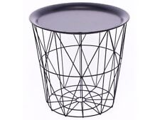 Black Geometric Metal Wire Round Tray Top Storage Side Table Basket 33.5hX35d Cm