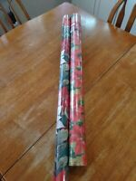 Lot of 2 Vintage Rolls Poinsettia Christmas Wrapping Paper New  SEALED