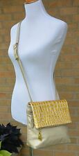 PARIS Soft GOLD Leather Cross Body Bag Yellow Alligator Print Patent Flap Purse