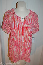 Womens S/S Dressy Shirt RED WHITE WAVY STRIPE Crinkle Material PEASANT TOP S 4-6