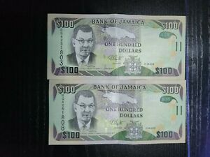 🇯🇲 Jamaica 100 dollars 2018 P-95e (qty 2) Banknote Currency Money 101621-3