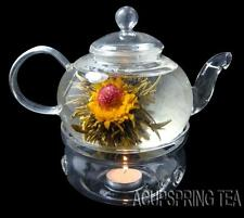 600ml glass teapot+warmer+12pcs flowering tea+candle,Good for gifts,B07+D+12