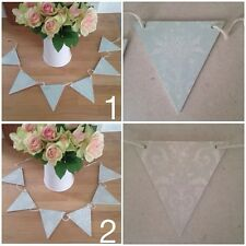 Laura Ashley Beautiful Wooden Bunting Garland Josette Duck Egg Blue or Dove Grey
