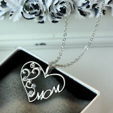 """Mother's Day Gift """"Mom"""" Charm Silver Crystal Heart Pendant Necklace Chain Love"""