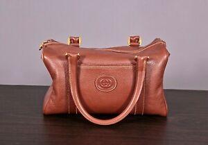 VTG Women's Brown Leather Gucci Hand Bag GG Logo Purse W Controllato Card