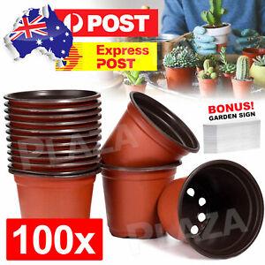 Plastic Plant Flower Pots Nursery Pot Garden Container & Plants Tags 100PCS NEW