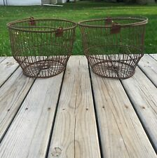 New Listing1920s Wire Egg Baskets - Set of 2 Primitive Antique Farm Baskets Produce Apple