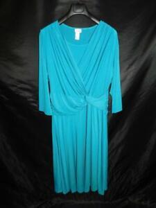 Vicki Wayne 20W Blue Midi Dress Stretch Knit Knot Waist 3/4 Sleeve Day Travel