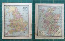 England Scotland Wales - Rare Original 1885 Antique Crams World Atlas Maps