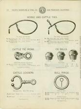 Catalog Page Ad Horse Cattle Ties Ox Balls Bull Rings Leaders  SF Calif 1902