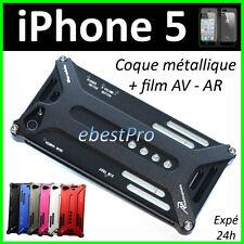 Accessoire Housse Etui Coque Metal Transformer Durable Noir iPhone 5 5G +Film