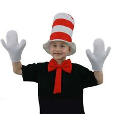 Cat In The Hat Fancy Dress Kit Kids Childs Striped Top Hat Bow Tie Gloves Set