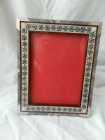 """Egyptian Wood Mother of Pearl Inlaid Handmade Picture Frame 6.5"""" X 8.5"""" #242"""