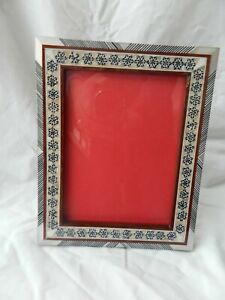 "Egyptian Wood Mother of Pearl Inlaid Handmade Picture Frame 6.5"" X 8.5"" #242"