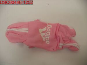 NWOT - Pink Adidog Dog Clothes Hoodie Coat Hooded Sweatshirt has some staining