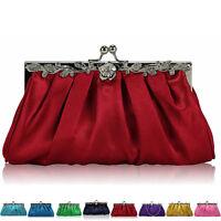 Satin Crystal Glitter Women Clutch Bag Bridal Brides Prom Ladies Evening Party