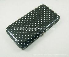 BLACK MINI POLKA DOT FLAT OPERA WALLET CLUTCH PURSE HANDBAG COIN CREDIT CARD BAG