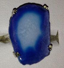 Handcrafted oscuro azul plata plateado Anillo de Cuarzo Solar cristalizada-Tamaño J 1/2
