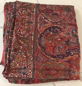 Rare Ralph Lauren Galahad Paisley King Flat Sheet Guinevere Aragon Medieval Red