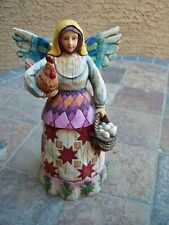 Jim Shore Heartwood Creek Angel of Faithfulness w/ Chicken Eggs Figurine Rooster